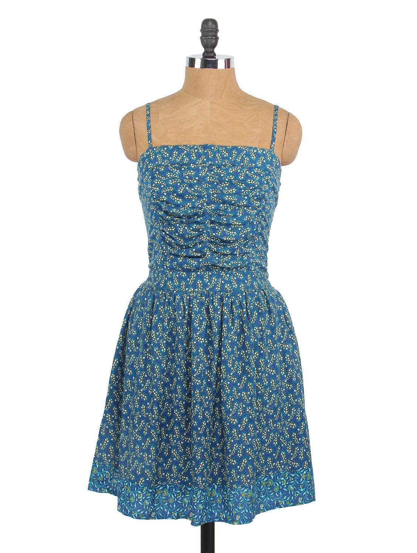 Blue Printed Camisole Neck Cotton Dress - Globus