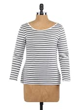 Striped Long Sleeves Cotton Knit Top - Globus