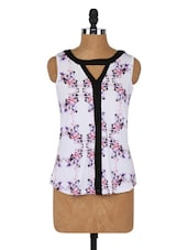 Elegant Floral Printed Sleeveless Top - Globus