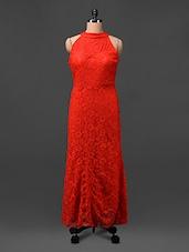 Red Halter Neck Lacy Maxi Dress - CINDRELLA