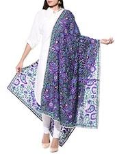 Purple Hand Embroidered Phulkari Georgette Dupatta - By