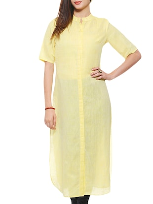 Yellow Cotton long Kurta