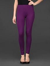 Dark Purple Cotton Lycra Ankle Length Leggings - De Moza