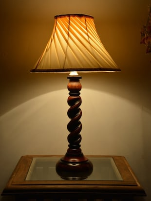 Cream wooden table lamp