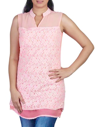 peach net, chiffon top