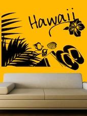 """ Hawaii "" With Flip Flops Printed Wall Sticker - Creative Width Design"