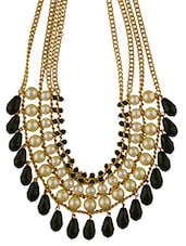 Fasherati White Pearls Necklace With Black Beads For Women - By