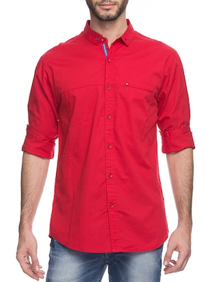 red silk blend casual shirt
