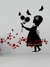 Little Girl With Flowers & Butterflies Wall Sticker - Creative Width Design