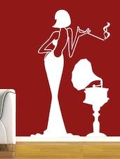 Lady With Gramophone Vinyl Wall Sticker - Creative Width Design