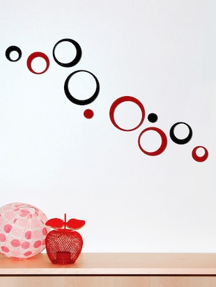 Black, Red Circular 3D Acrylic Wall Sticker