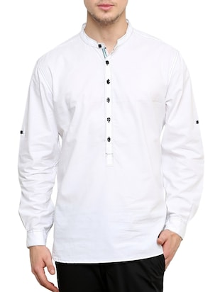 solid white cotton kurta -  online shopping for Kurtas