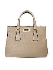 Glossy Beige Floral Leatherette Handbag - Super Drool