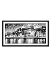 City At Waterside Canvas Painting - Thousand-brushes
