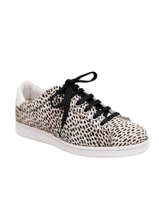 white,black leather laceup sneakers