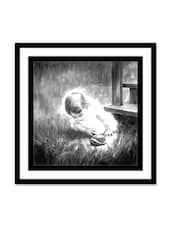 Baby Girl Playing Canvas Painting - Thousand-brushes