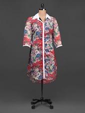 Hi-low Hem Shirt Collar Chiffon Kurti - Ayaany