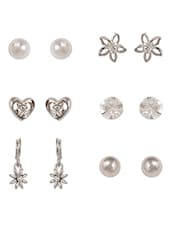 Heart & Flower Shape Studs Set(6 Pairs) - Bg's