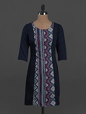 Aztec Printed Round Neck Crepe Dress - By