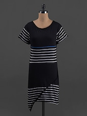 Stripes Printed Short Sleeves Cotton Knit Dress - Belle Fille