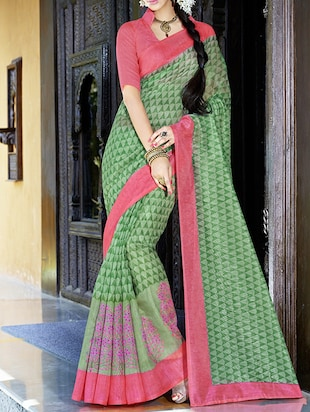 Green poly dupion printed saree