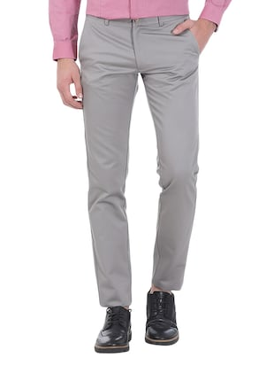 grey cotton chinos -  online shopping for Casual Trousers