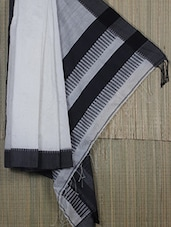 Monochrome Cotton Silk Comb Detailed Saree - Cotton Koleksi