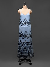 Steel Blue Embroidered Maxi Dress - Global Colors