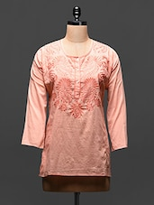 Peach Embroidered Cotton Top - Global Colors