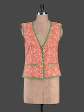 Orange Floral Print Cotton Waist-Coat - Bhama Couture