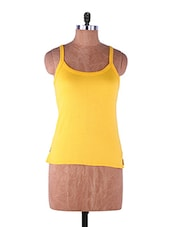 Yellow Plain Solid Camisole Cotton - Fabme