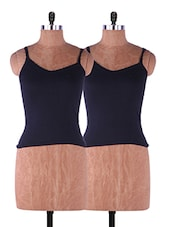 Black Plain Solid Camisole Cotton Set Of 2 - Fabme