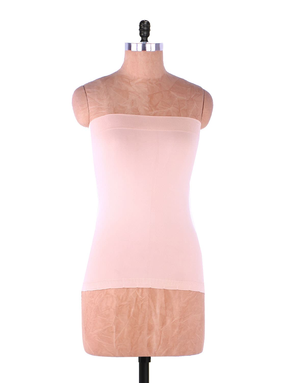 Pink Plain Solid Strapless Camisole Cotton - Fabme