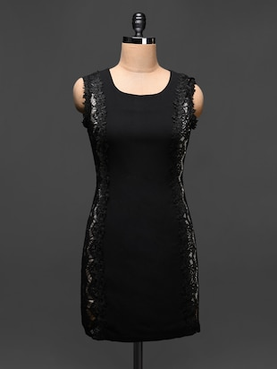 Black Lace Embellished Bodycon Dress