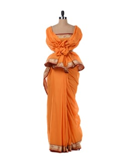 Orange Saree With Maroon Border - Platinum Sarees