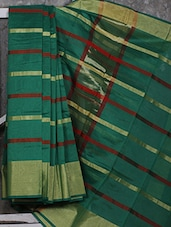 Green Stripped Art Silk Saree - Shiva Saree