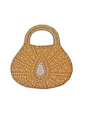Gold Jute Handbag With Beaded Leaf Motif - Bhamini
