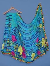 Floral Printed Striped Georgette Saree - Click Sarees