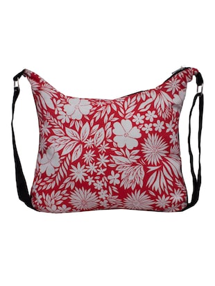red and white canvas floral printed sling  bag - 10701204 - Standard Image - 2