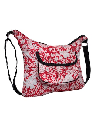 red and white canvas floral printed sling  bag - 10701204 - Standard Image - 5