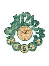 Dark Green Floral Print Cutout Wall Clock - Wood Pecker