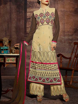 cream and brown faux georgette semistitched suit