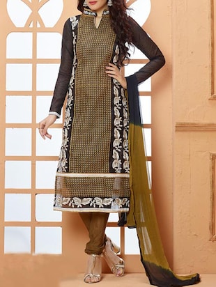 black and brown chanderi semistitched suit