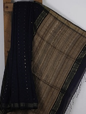 Navy Blue Handwoven Ghicha Cotton Silk Saree - NFTSSLTD