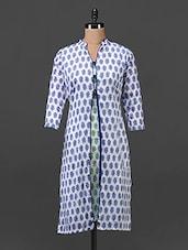 Blue & Green Printed Cotton Kurti - Tissu