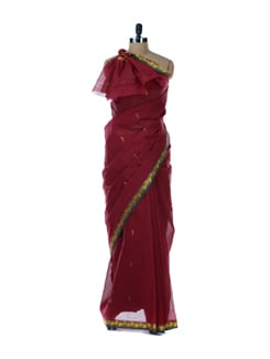 Maroon Saree With Green Border - Platinum Sarees