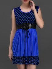 Blue Polka Dot Printed Dress - London Off