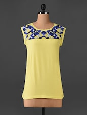 Embroidered Yoke Sleeveless Top - CHERYMOYA