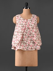 Sleeveless Bow Print Layered Top - CHERYMOYA