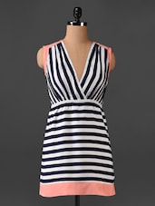 Stripped Overlap Neck Dress - CHERYMOYA